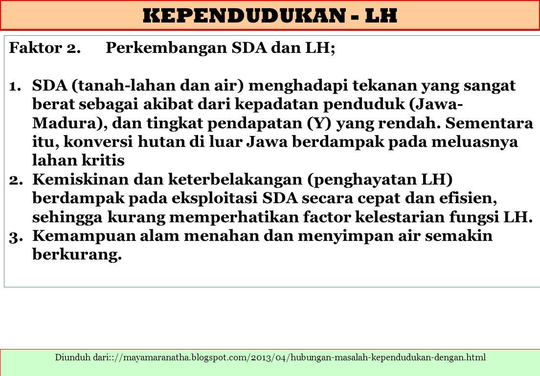KEPENDUDUKAN - LH Faktor 2. Perkembangan SDA dan LH;