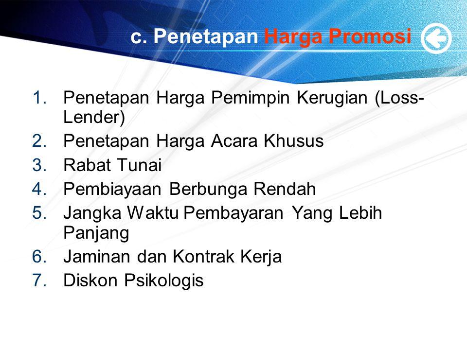 c. Penetapan Harga Promosi