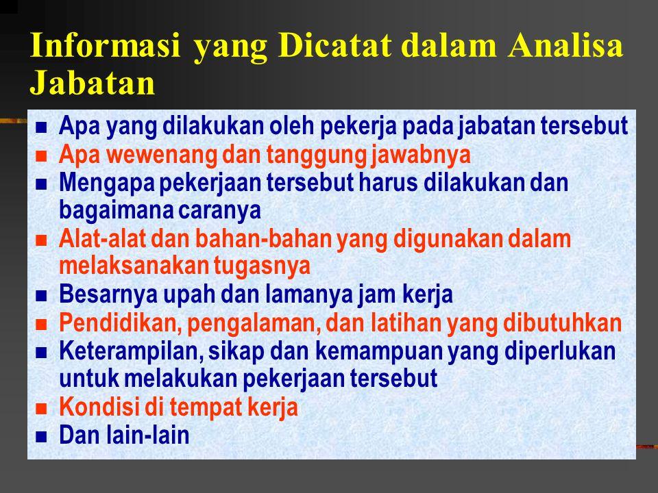 Informasi yang Dicatat dalam Analisa Jabatan