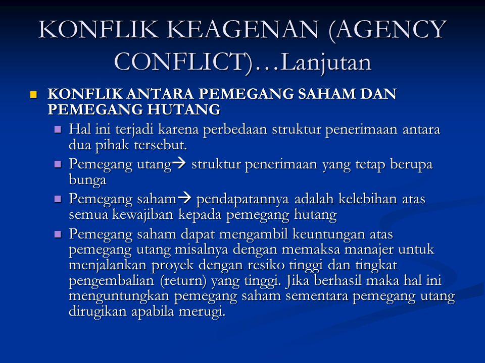 KONFLIK KEAGENAN (AGENCY CONFLICT)…Lanjutan