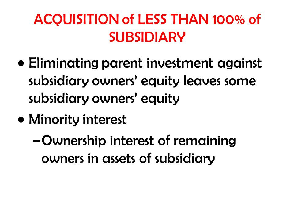 ACQUISITION of LESS THAN 100% of SUBSIDIARY