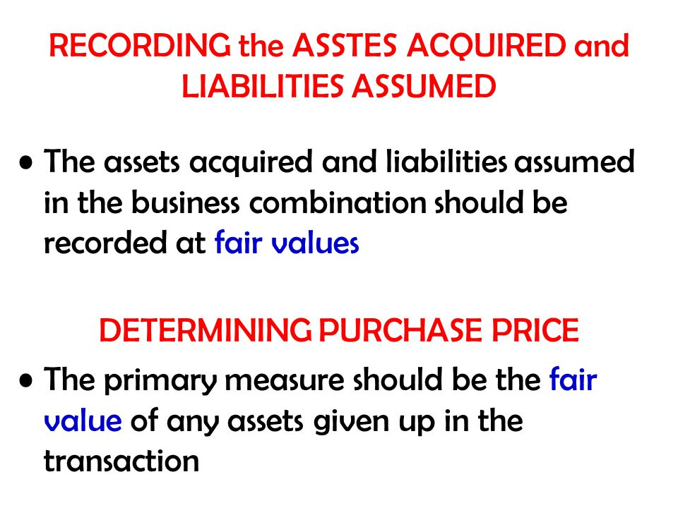 RECORDING the ASSTES ACQUIRED and LIABILITIES ASSUMED