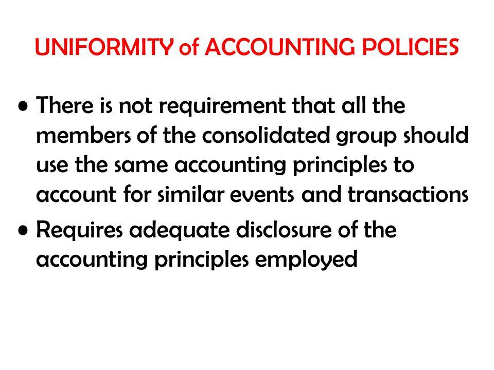 UNIFORMITY of ACCOUNTING POLICIES