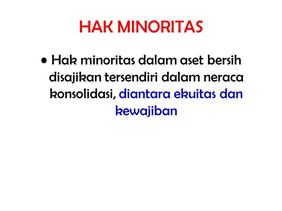 HAK MINORITAS Hak minoritas dalam aset bersih disajikan tersendiri dalam neraca konsolidasi, diantara ekuitas dan kewajiban.