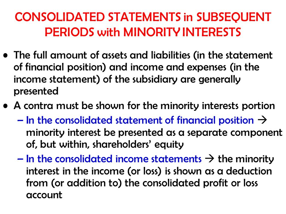 CONSOLIDATED STATEMENTS in SUBSEQUENT PERIODS with MINORITY INTERESTS
