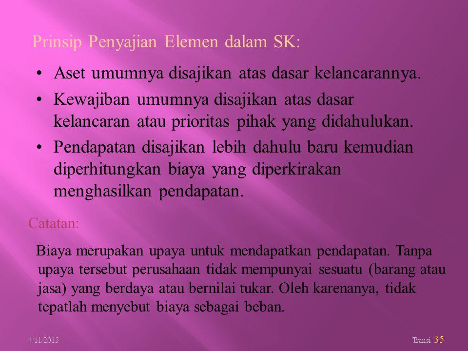 Prinsip Penyajian Elemen dalam SK:
