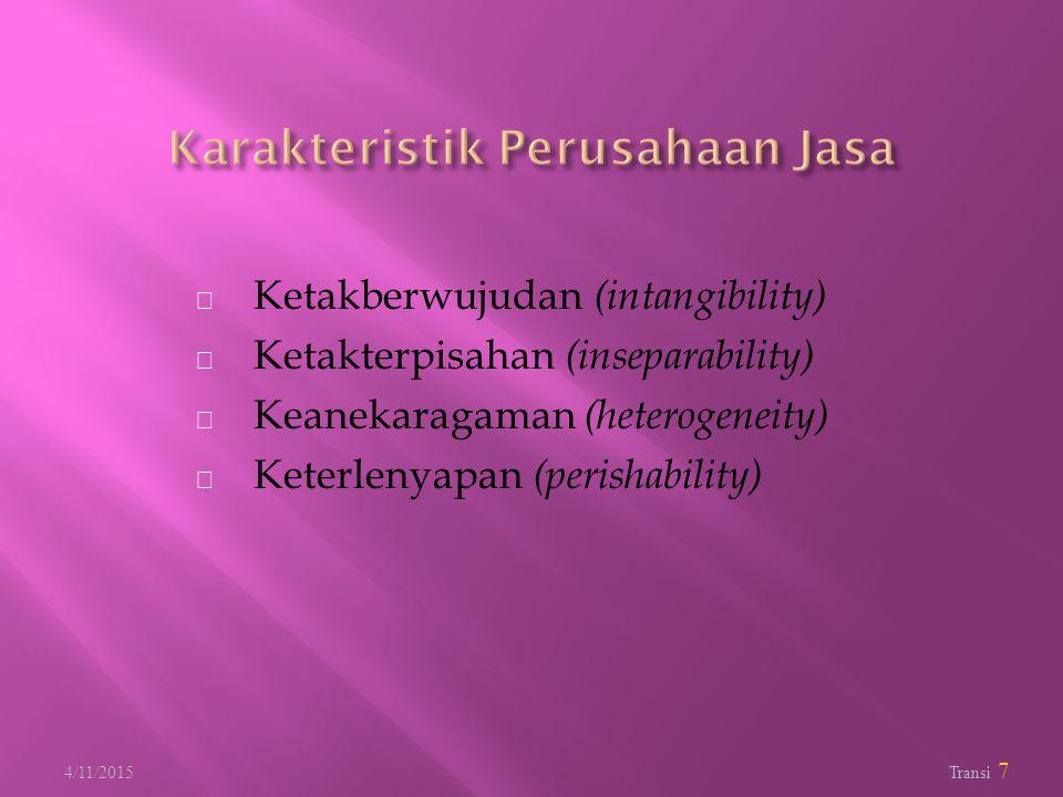 Karakteristik Perusahaan Jasa