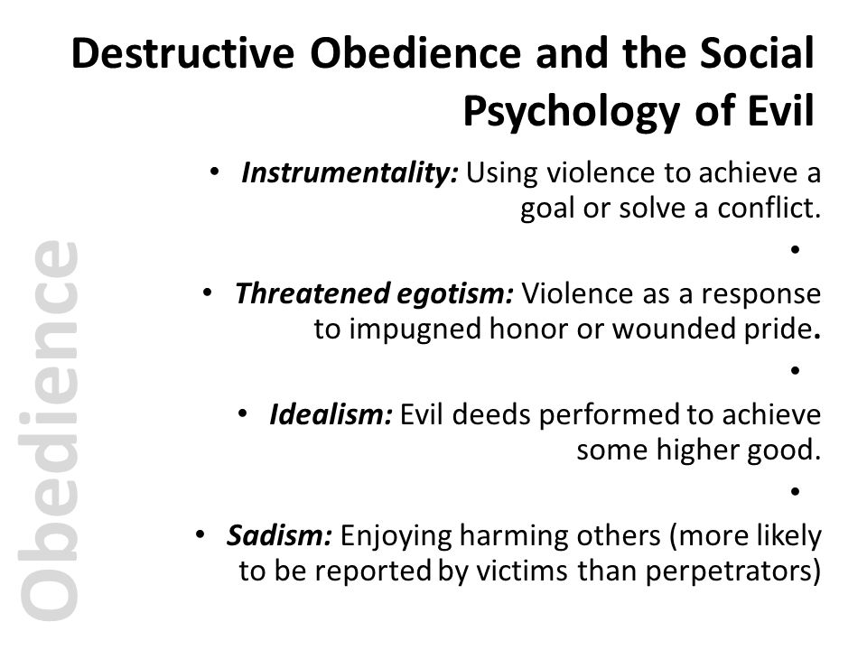 Destructive Obedience and the Social Psychology of Evil