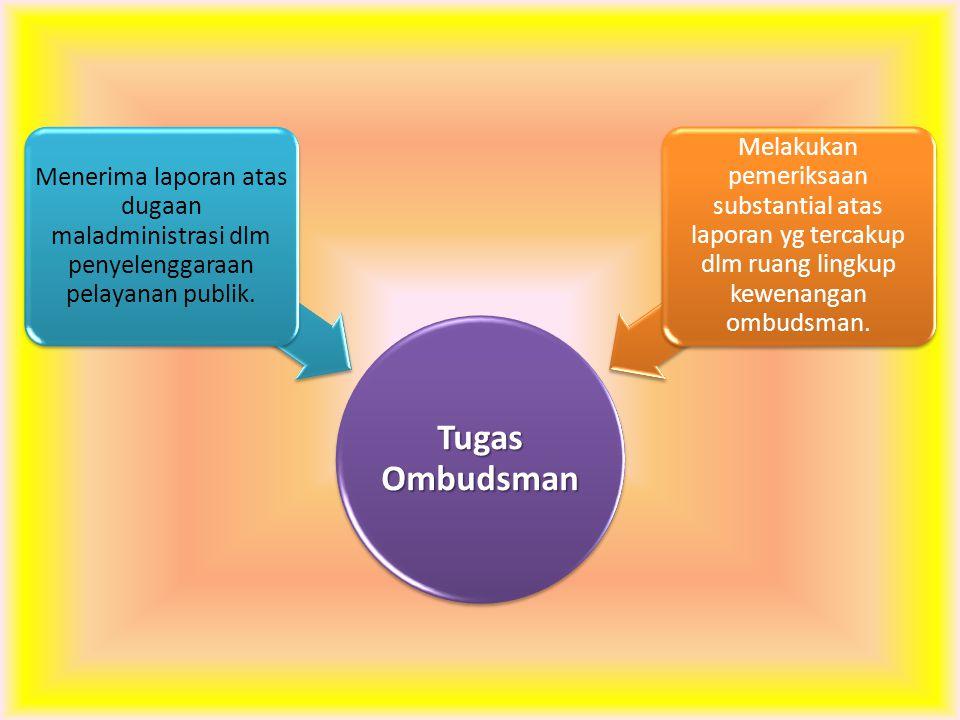 Tugas Ombudsman Menerima laporan atas dugaan maladministrasi dlm penyelenggaraan pelayanan publik.