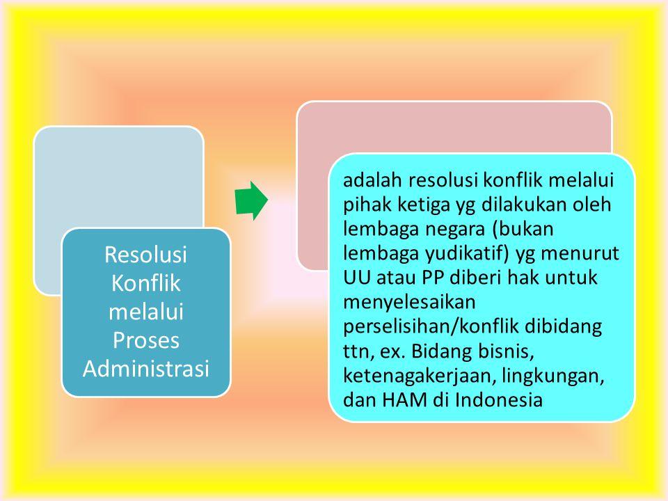 Resolusi Konflik melalui Proses Administrasi