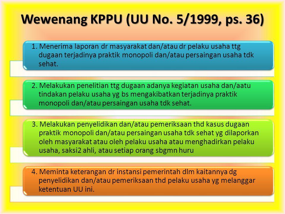 Wewenang KPPU (UU No. 5/1999, ps. 36)