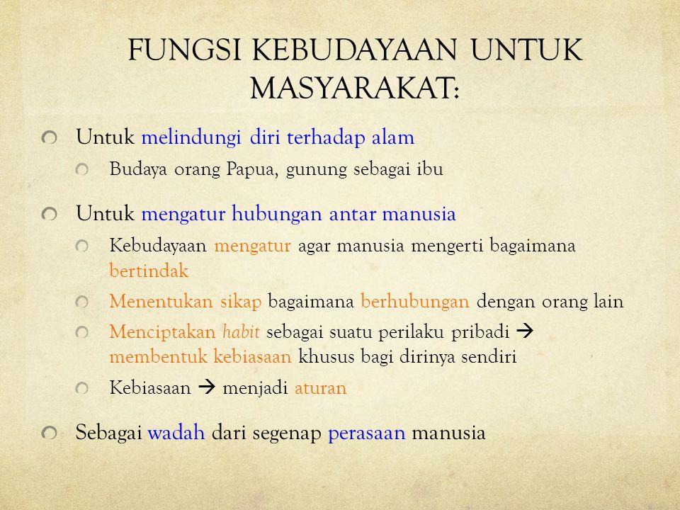 FUNGSI KEBUDAYAAN UNTUK MASYARAKAT: