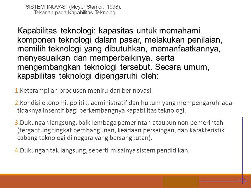 SISTEM INOVASI (Meyer-Stamer, 1998): Tekanan pada Kapabilitas Teknologi