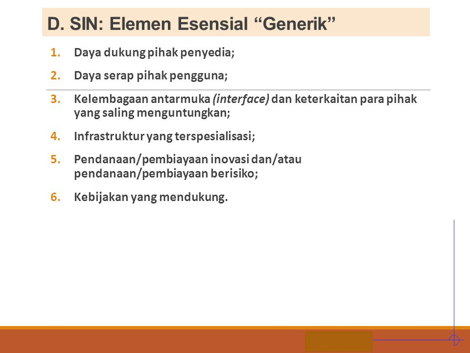 D. SIN: Elemen Esensial Generik