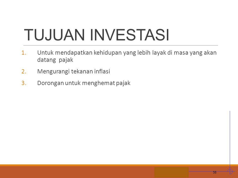 TUJUAN INVESTASI Untuk mendapatkan kehidupan yang lebih layak di masa yang akan datang pajak. Mengurangi tekanan inflasi.