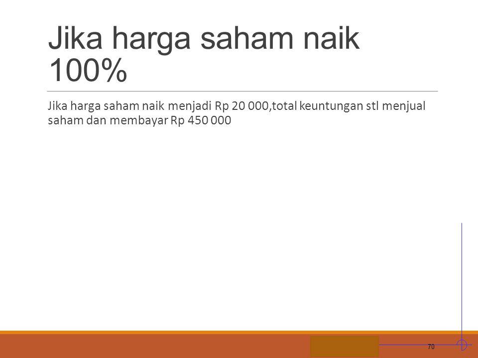 Jika harga saham naik 100% Jika harga saham naik menjadi Rp 20 000,total keuntungan stl menjual saham dan membayar Rp 450 000.