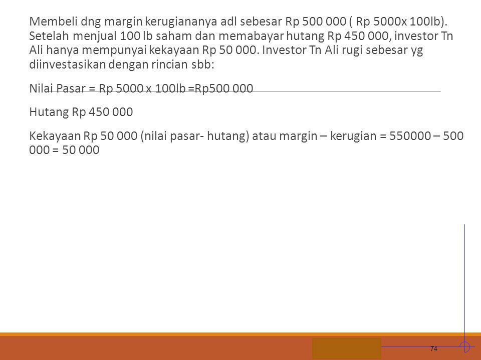 Membeli dng margin kerugiananya adl sebesar Rp 500 000 ( Rp 5000x 100lb). Setelah menjual 100 lb saham dan memabayar hutang Rp 450 000, investor Tn Ali hanya mempunyai kekayaan Rp 50 000. Investor Tn Ali rugi sebesar yg diinvestasikan dengan rincian sbb:
