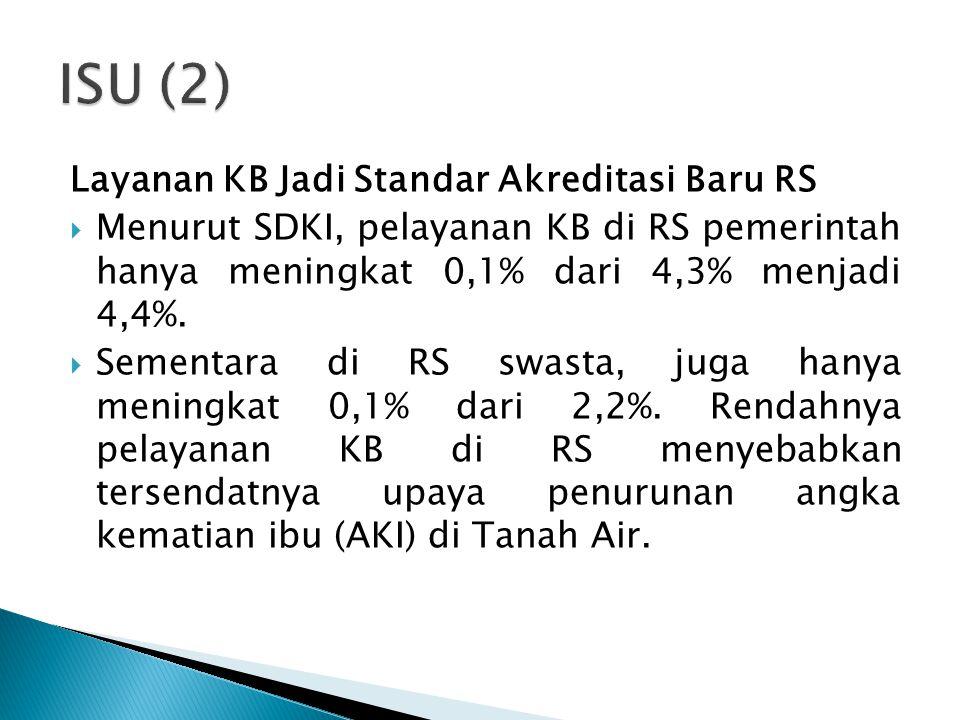ISU (2) Layanan KB Jadi Standar Akreditasi Baru RS