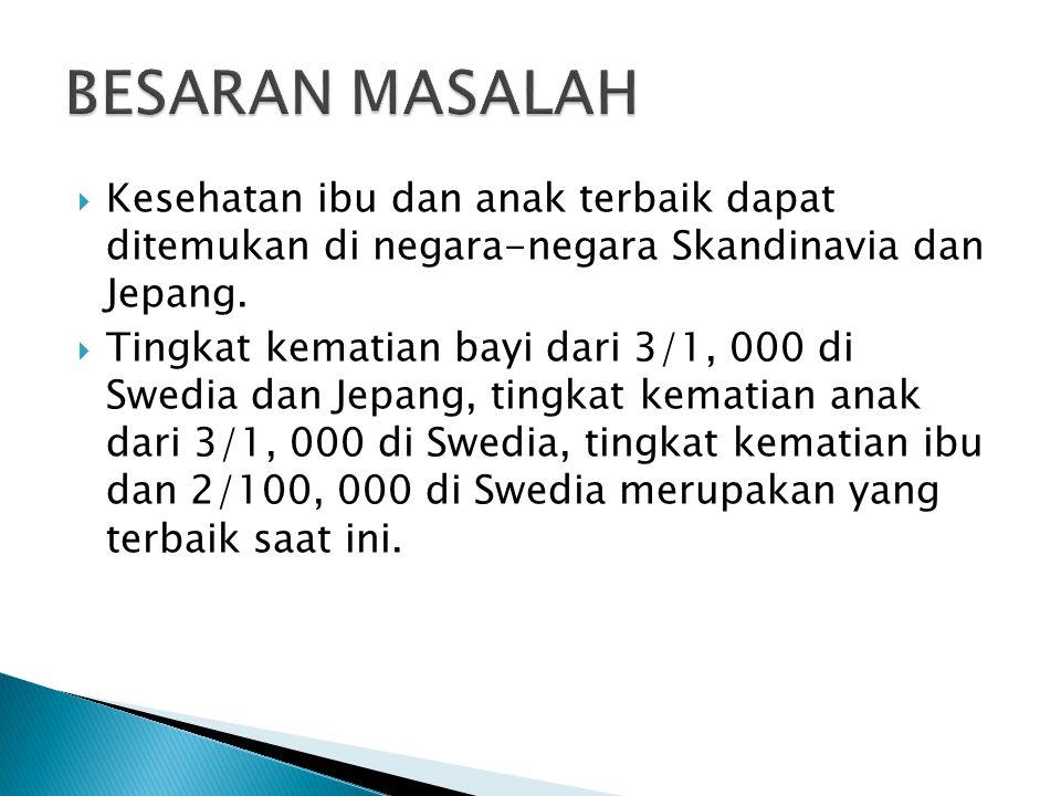 BESARAN MASALAH Kesehatan ibu dan anak terbaik dapat ditemukan di negara-negara Skandinavia dan Jepang.