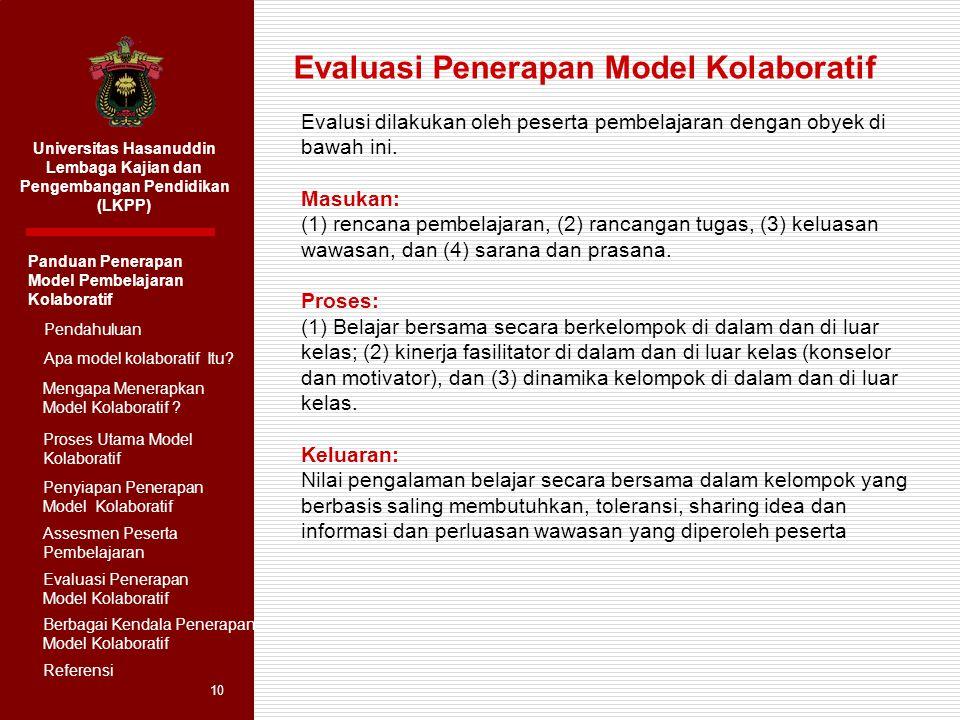 Evaluasi Penerapan Model Kolaboratif