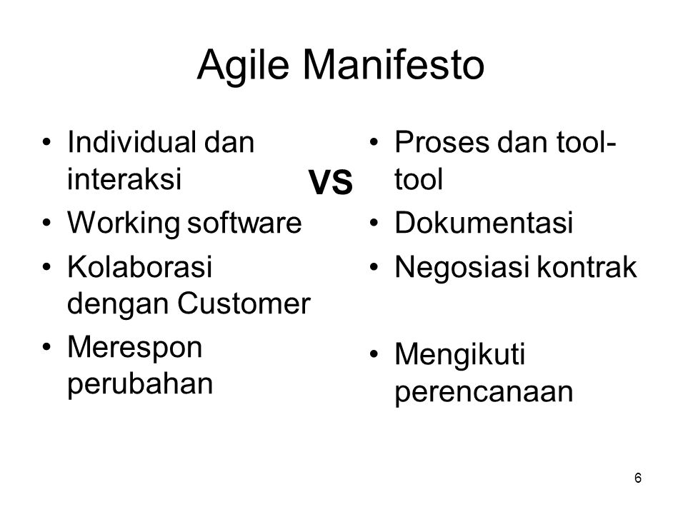 Agile Manifesto VS Individual dan interaksi Working software