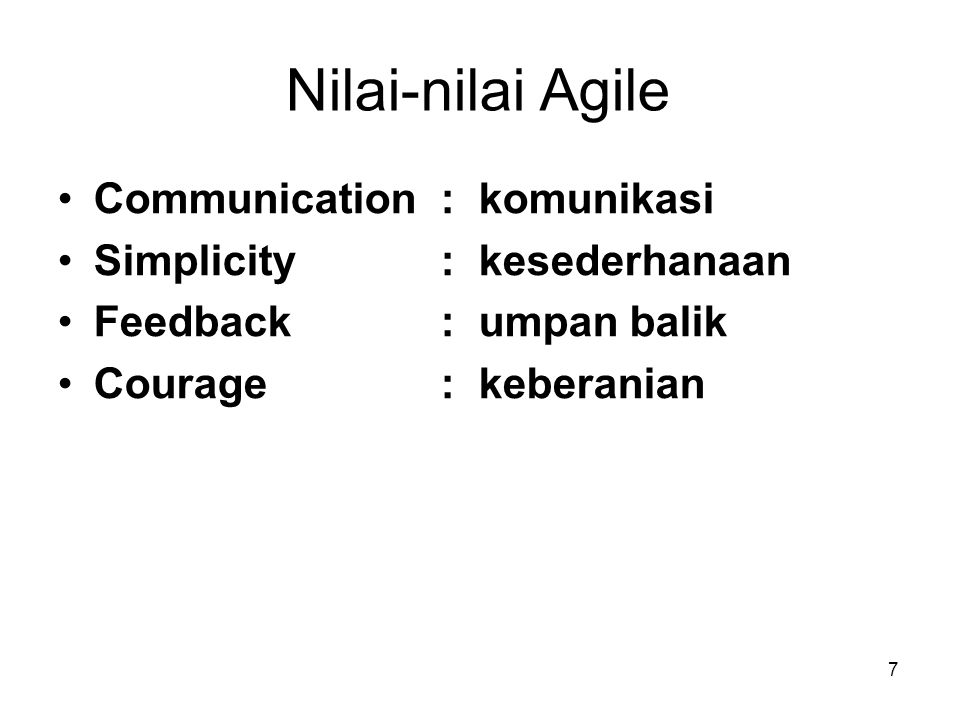 Nilai-nilai Agile Communication : komunikasi