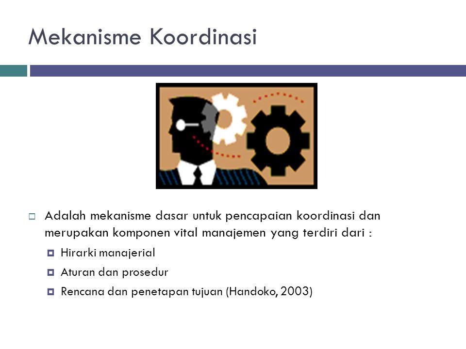 Mekanisme Koordinasi Adalah mekanisme dasar untuk pencapaian koordinasi dan merupakan komponen vital manajemen yang terdiri dari :
