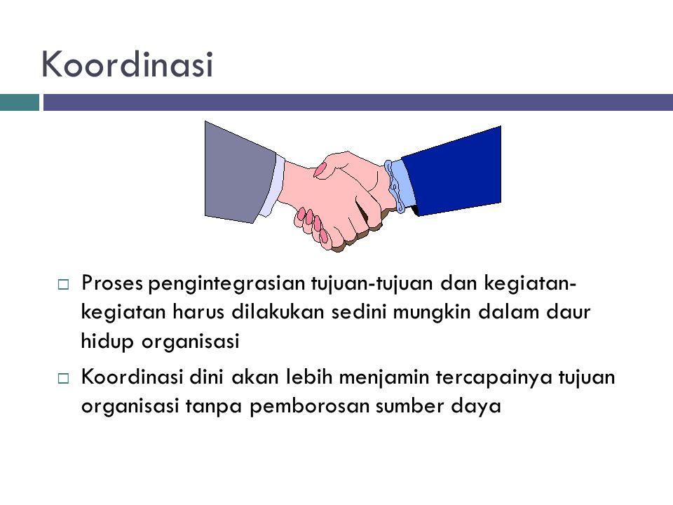 Koordinasi Proses pengintegrasian tujuan-tujuan dan kegiatan- kegiatan harus dilakukan sedini mungkin dalam daur hidup organisasi.