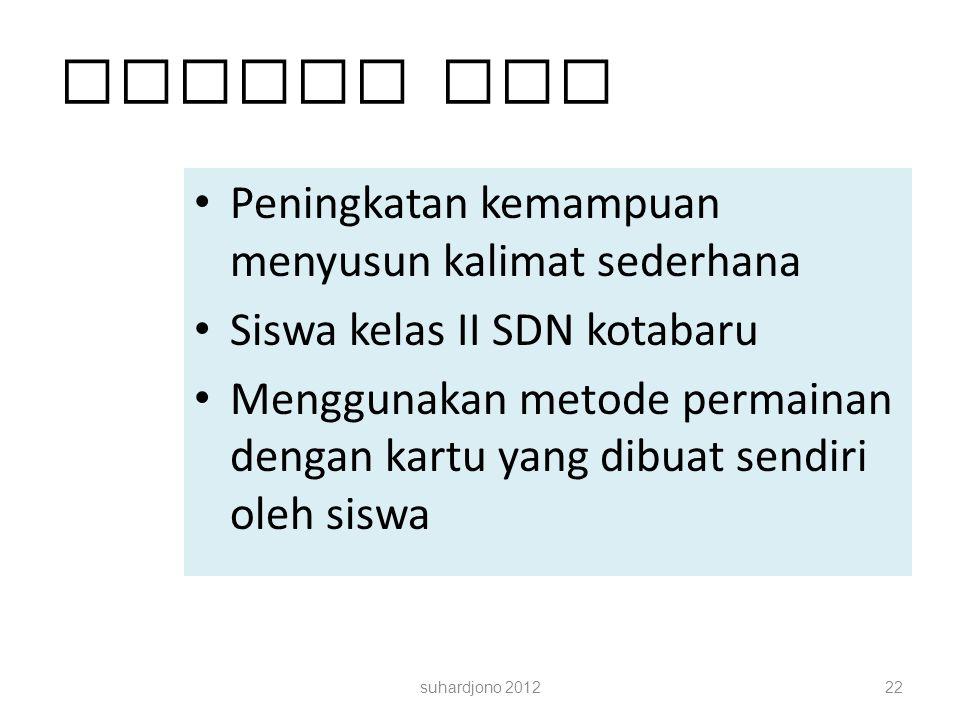 Contoh PTK Peningkatan kemampuan menyusun kalimat sederhana