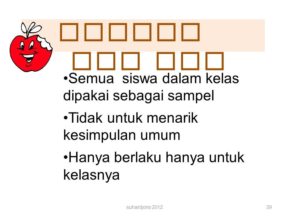 Sampel PTK Semua siswa dalam kelas dipakai sebagai sampel
