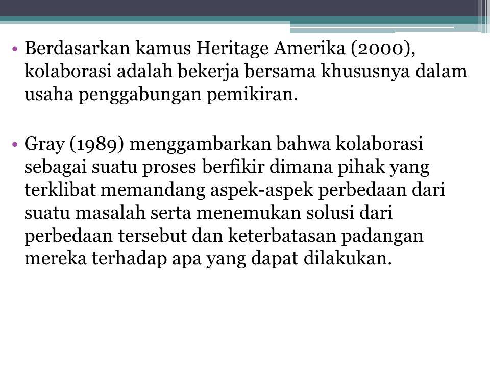 Berdasarkan kamus Heritage Amerika (2000), kolaborasi adalah bekerja bersama khususnya dalam usaha penggabungan pemikiran.