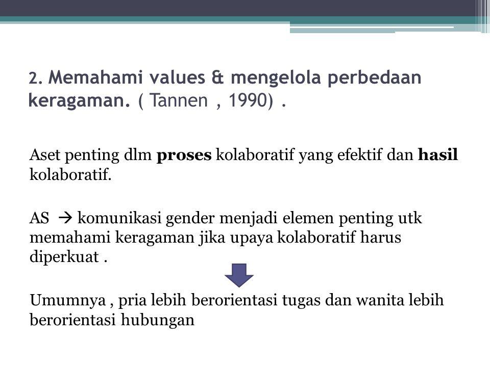 2. Memahami values & mengelola perbedaan keragaman. ( Tannen , 1990) .
