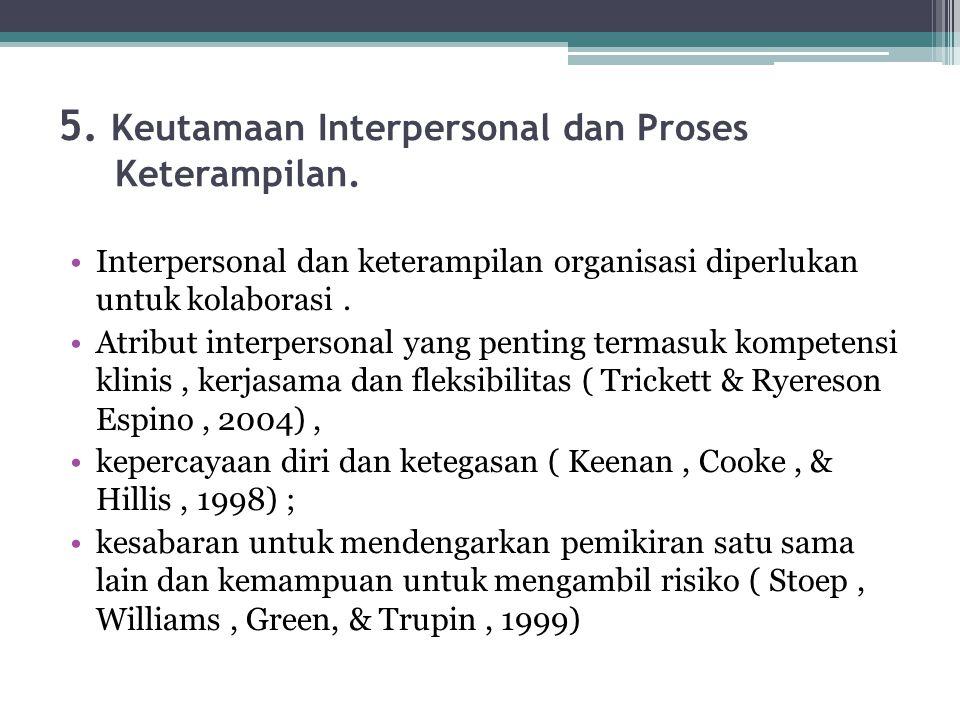 5. Keutamaan Interpersonal dan Proses Keterampilan.