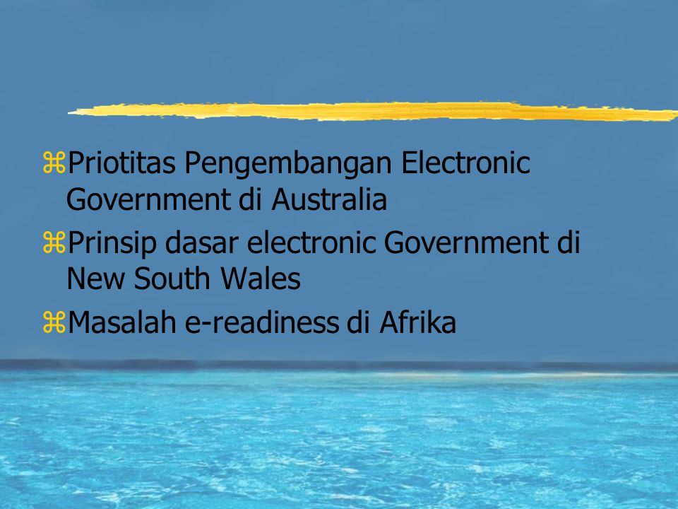 Priotitas Pengembangan Electronic Government di Australia
