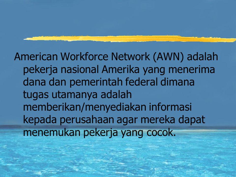 American Workforce Network (AWN) adalah pekerja nasional Amerika yang menerima dana dan pemerintah federal dimana tugas utamanya adalah memberikan/menyediakan informasi kepada perusahaan agar mereka dapat menemukan pekerja yang cocok.