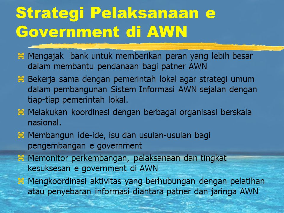 Strategi Pelaksanaan e Government di AWN