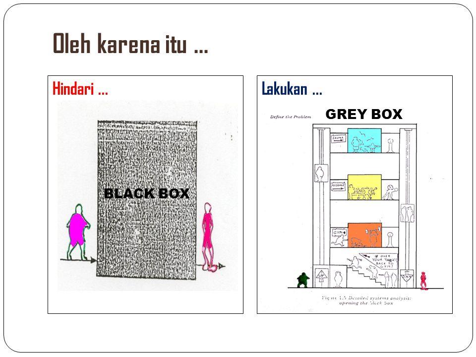 Oleh karena itu ... Hindari ... Lakukan ... GREY BOX BLACK BOX