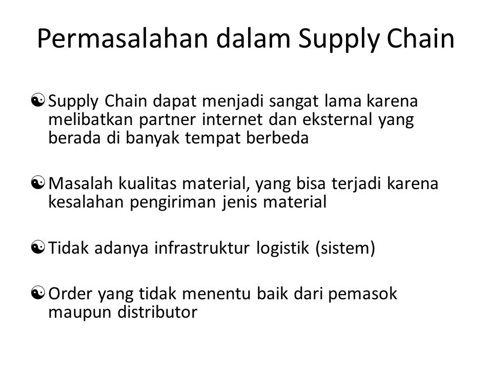 Permasalahan dalam Supply Chain