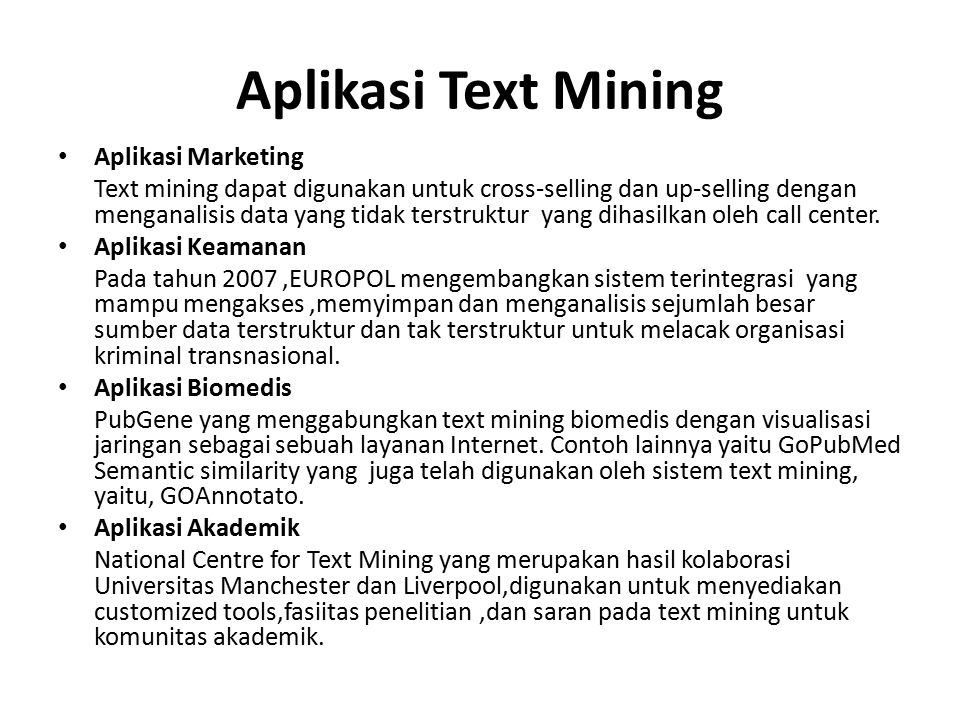 Aplikasi Text Mining Aplikasi Marketing