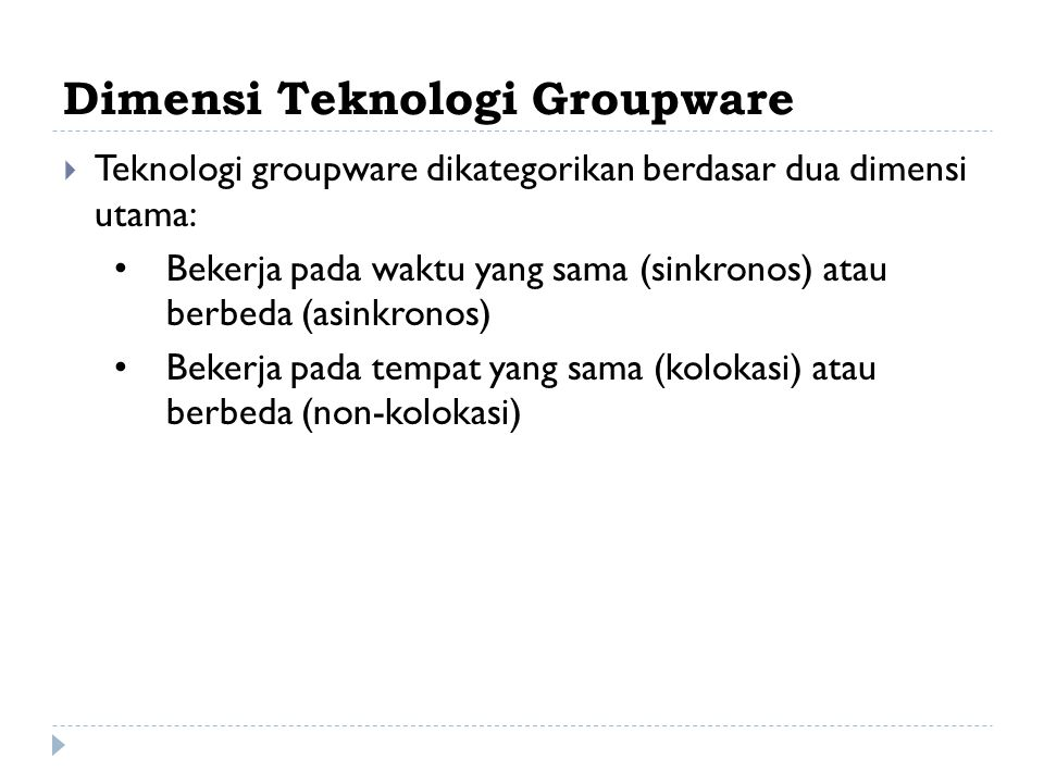 Dimensi Teknologi Groupware