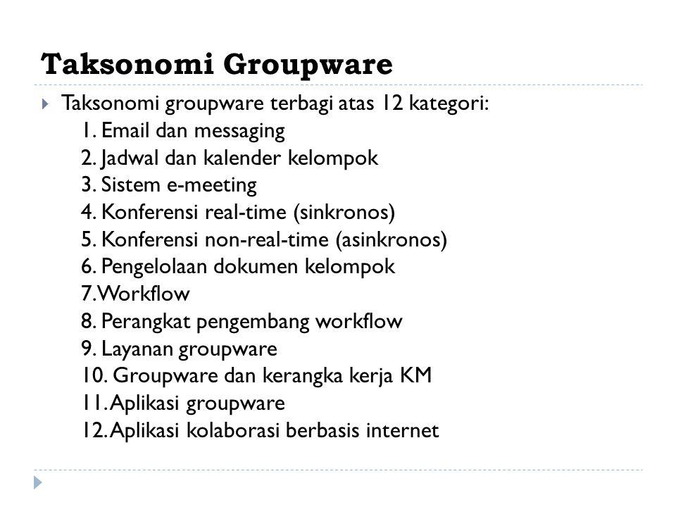 Taksonomi Groupware Taksonomi groupware terbagi atas 12 kategori: