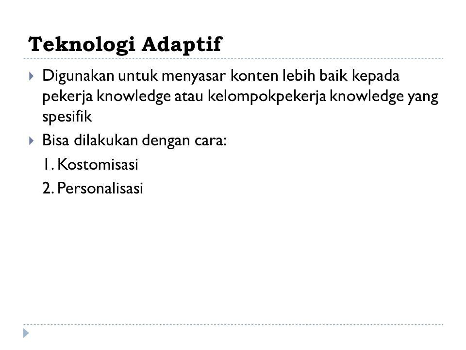 Teknologi Adaptif Digunakan untuk menyasar konten lebih baik kepada pekerja knowledge atau kelompokpekerja knowledge yang spesifik.