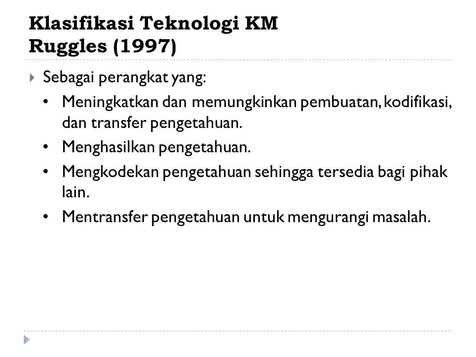 Klasifikasi Teknologi KM Ruggles (1997)