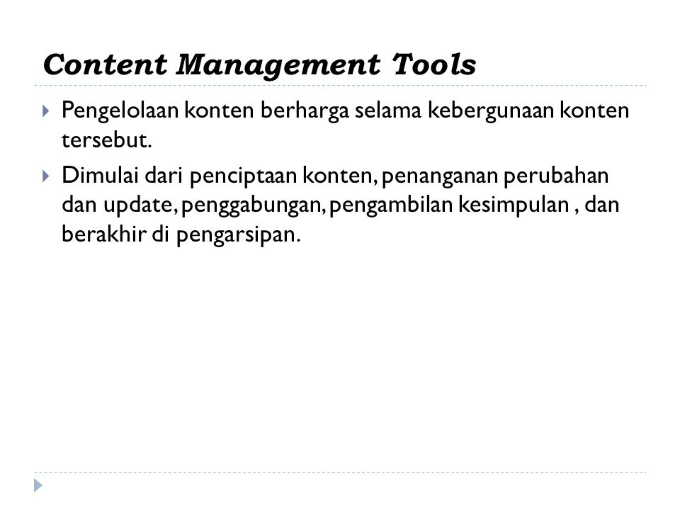 Content Management Tools