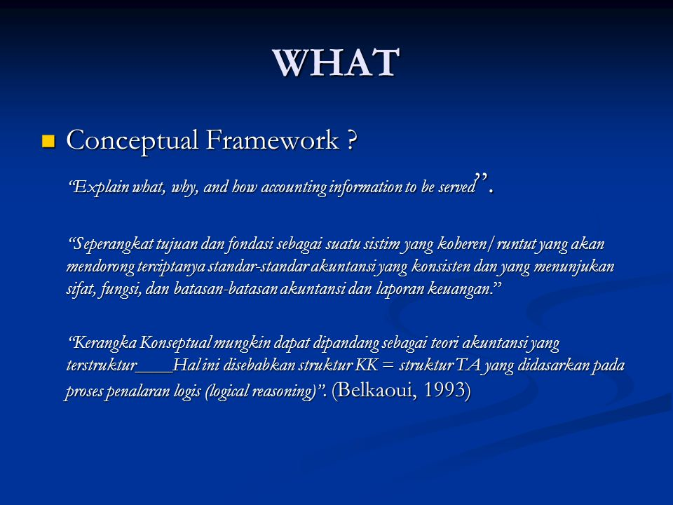 WHAT Conceptual Framework