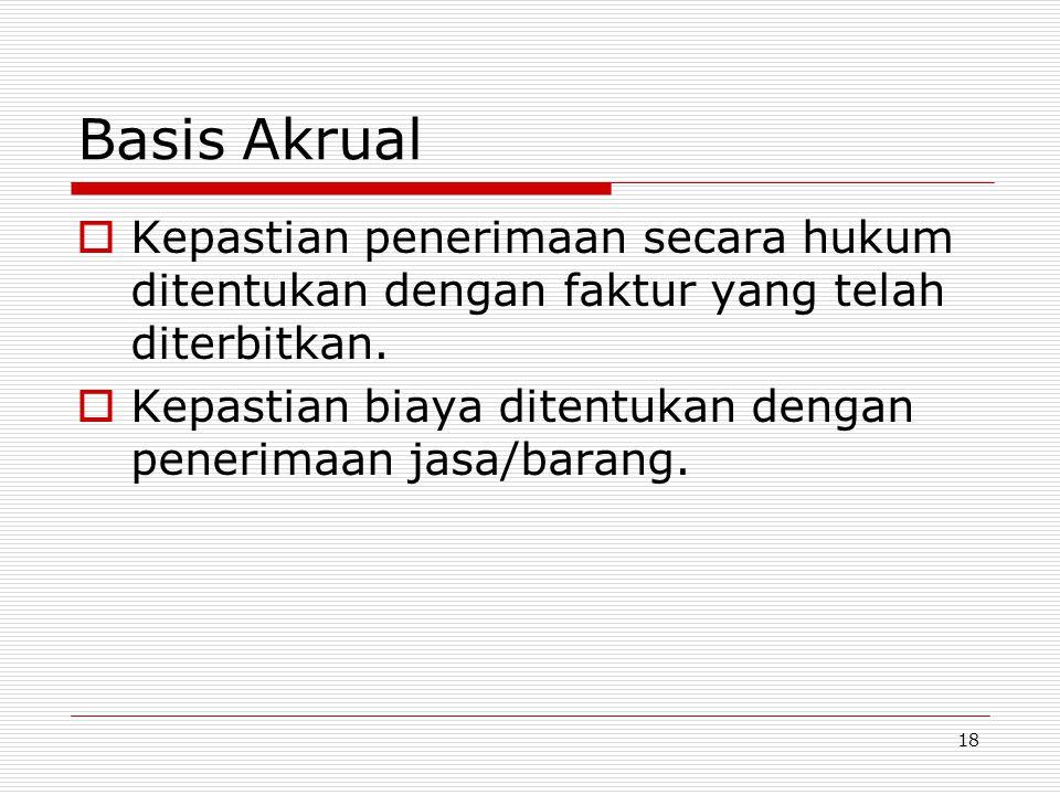 Basis Akrual Kepastian penerimaan secara hukum ditentukan dengan faktur yang telah diterbitkan.