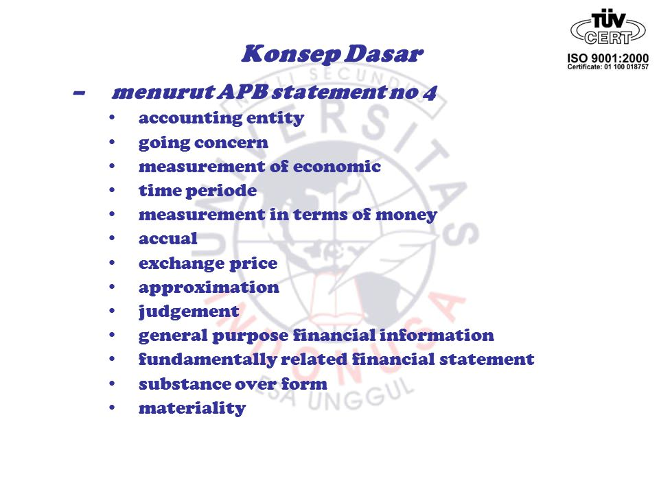 Konsep Dasar menurut APB statement no 4 accounting entity