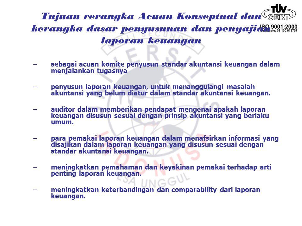 Tujuan rerangka Acuan Konseptual dan kerangka dasar penyusunan dan penyajian laporan keuangan