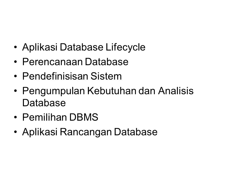 Aplikasi Database Lifecycle