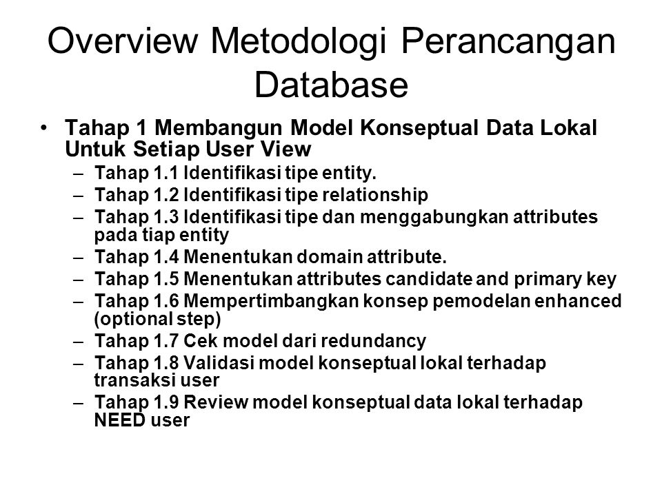 Overview Metodologi Perancangan Database